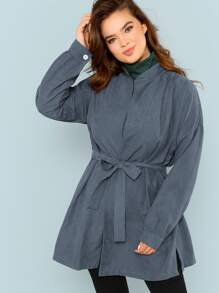 Plus Buttoned Cuff Belted Solid Coat