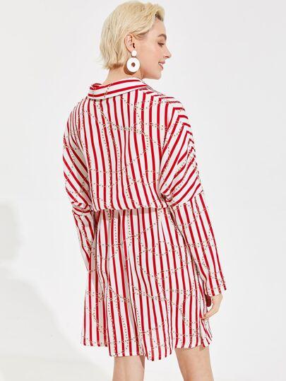305e94d4 Home · Clothing · Dresses; Striped and Chain Print Drawstring Waist Shirt  Dress