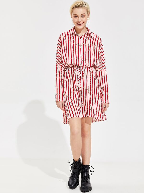 ef7aede252 Striped and Chain Print Drawstring Waist Shirt Dress