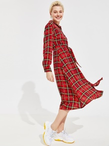 Chain Print Plaid Shirt Dress With Belt
