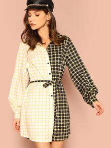 Cut-and-sew Tie Waist Shirt Dress