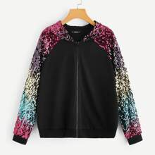 Colorful Sequin Raglan Sleeve Zip Up Hoodie