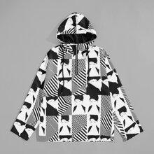 Image of Men Figure & Striped Print Half Placket Hooded Jacket