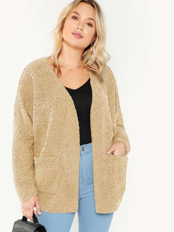 Shein Plus Open Front Pocket Patched Teddy Coat by Sheinside