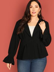 Plus Peak Collar Flounce Sleeve Peplum Coat