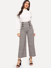 Double Breasted Glen Plaid Wide Leg Pants