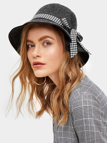 Houndstooth Band Cloche Hat