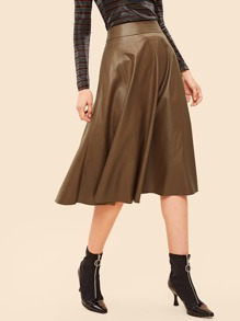 80s Wide Waistband Flare PU Skirt