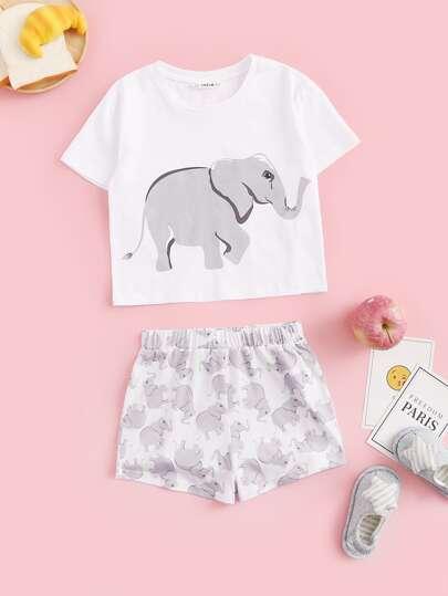 3eb36d9616 Girls Elephant Print Tee & Shorts PJ Set