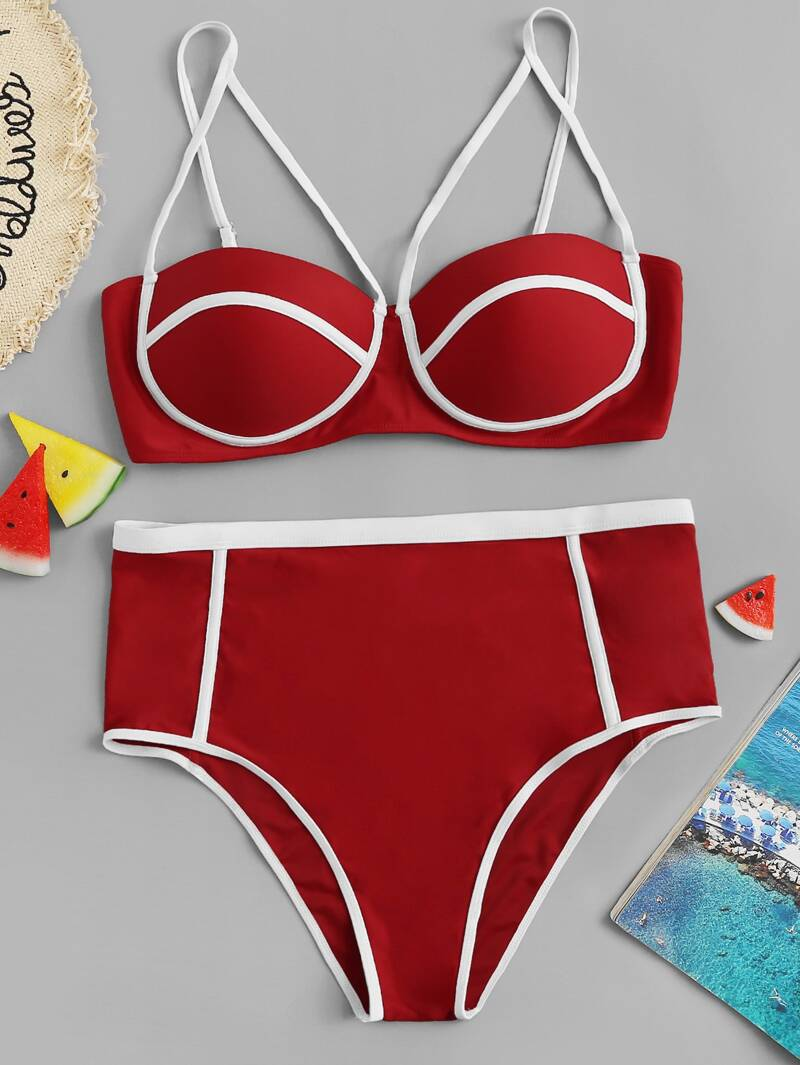 f9d777a83952 Bikini con ribete en contraste de talle alto - grande