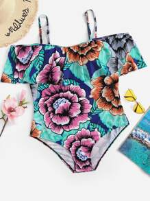 Plus Random Flower Print Flounce One Piece Swimsuit