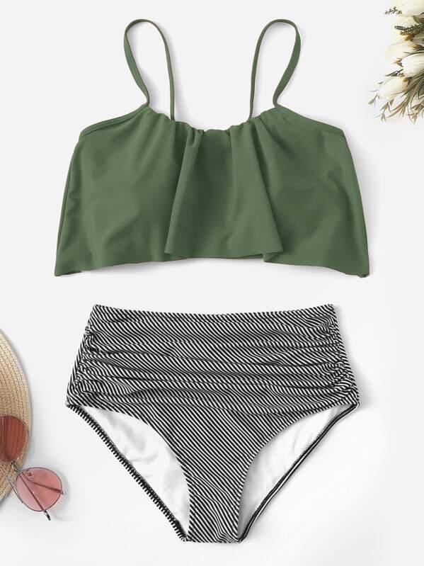 4ec1a51e1b Cheap Flounce Top With Striped Ruched High Waist Bikini for sale Australia    SHEIN