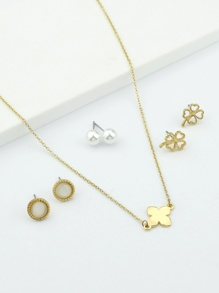 Gold Plated Flower Earrings 3pairs & Necklace 1pc