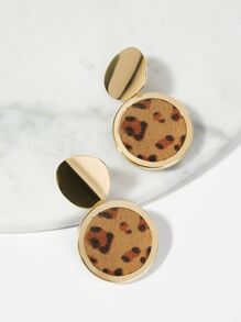 Leopard Pattern Round Drop Earrings 1pair