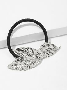 Metal Leaf Decorated Hair Tie