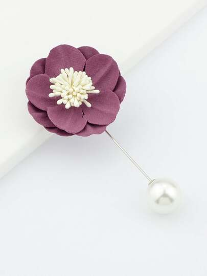 Purple Flannel Flower Ball Brooch