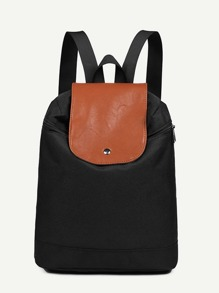Two Tone PU Panel Backpack
