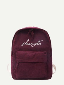 Slogan Embroidered Detail Corduroy Backpack