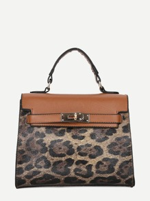 Leopard Print Satchel Bag
