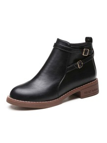 Double Buckle Strap Side Zip Ankle Boots