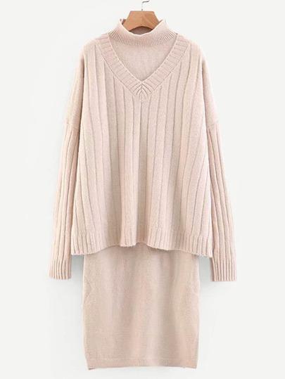 7df38c2c7d6 Drop Shoulder Solid Jumper   Slit Hem Sweater Dress