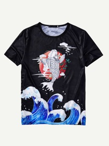Men Fish & Slogan Print Tee