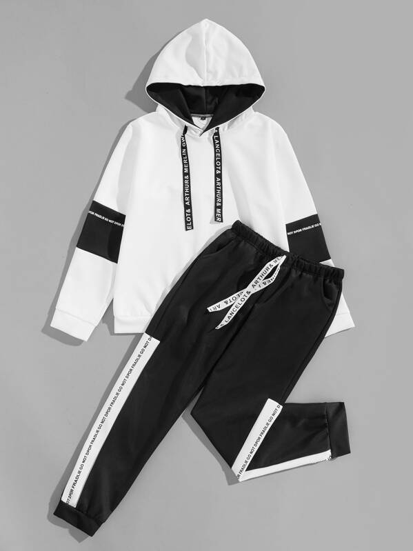 1f0dd82105dd Cheap Men Contrast Tape Letter Print Hoodie With Pants for sale Australia
