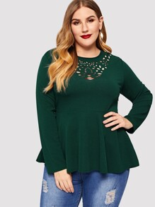 Plus Laser Cut Ruffle Hem Blouse