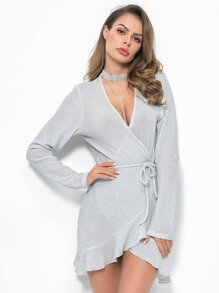Glitter Ruffle Hem Belted Wrap Dress
