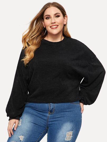Plus Solid Drop Shoulder Sweater