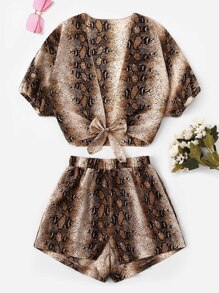 Knot Hem Snake Print Top With Shorts