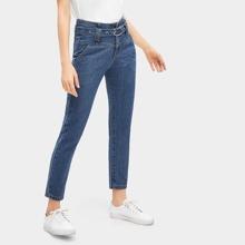 Stitch Detail Waist Tie Jeans