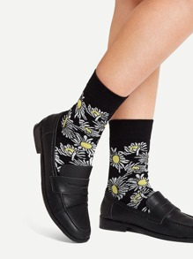 Flower Pattern Ankle Socks
