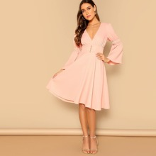 Plunging Neck Bell Sleeve Button Front Dress