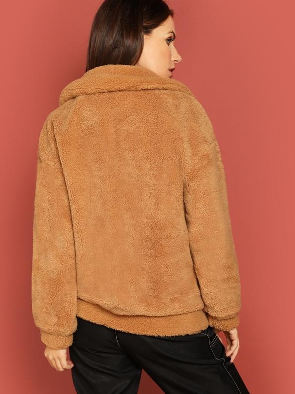 798980e3dd2 Drop Shoulder Oversized Teddy Jacket | SHEIN IN