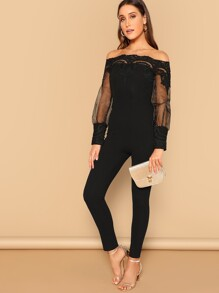Lace Insert Off Shoulder Jumpsuit