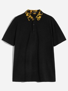 Men Retro Print Collar Polo Shirt