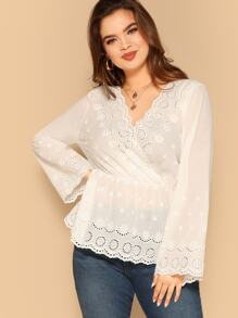 Plus Eyelet Embroidered Surplice Neck Top