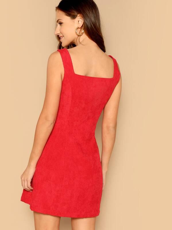 285a76bdfa O-ring Zip Up Corduroy Trapeze Dress