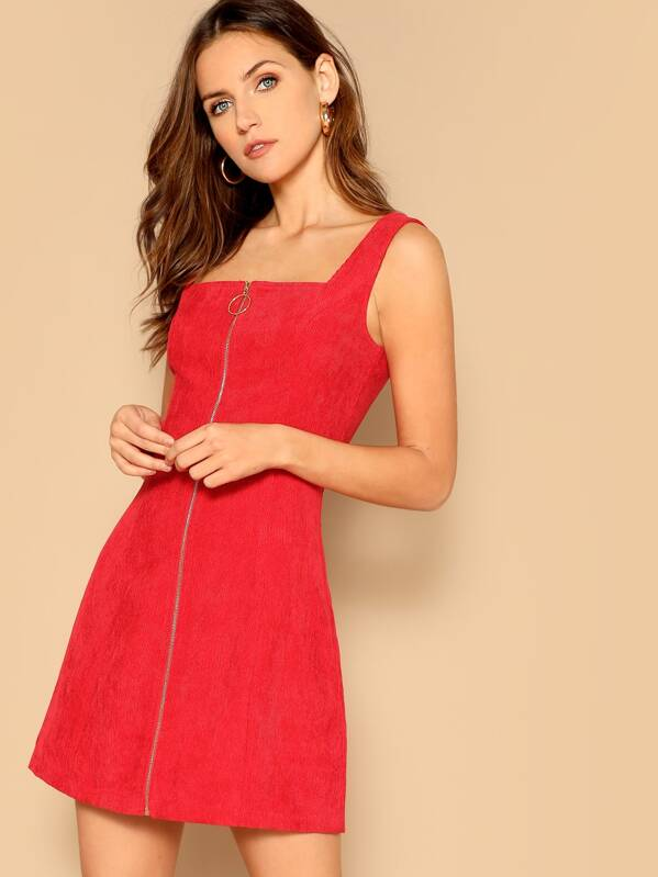 ed83094bee O-ring Zip Up Cord Trapeze Dress | SHEIN UK