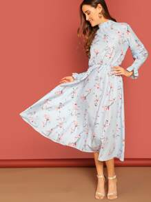 Smocked High Neck & Sleeve Midi Floral Dress