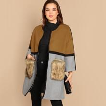 Image of Plus Contrast Faux Fur Pocket Color Block Coat