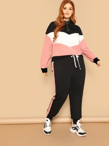 Plus O-Ring Zip Up Color Block Pullover & Pants Set
