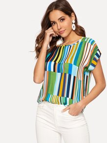 Cuffed Sleeve Mixed Stripe Top