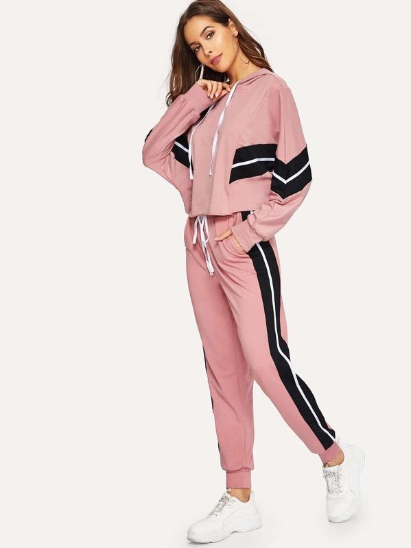 1e04c4e5dd17 Dolman Sleeve Striped Hoodie & Sweatpants Tracksuit | SHEIN