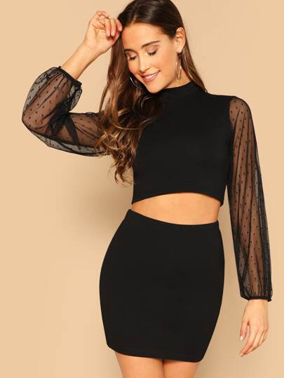 af5cf3ffed2 Mock Neck Dot Mesh Sleeve Crop Top   Skirt Set