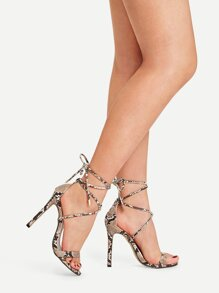 Snake Embossed Lace-up Stiletto Heels