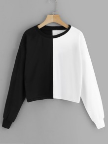 Two Tone Drop Shoulder Sweatshirt