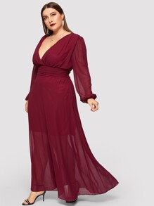Plus Plunging Neck Solid Dress