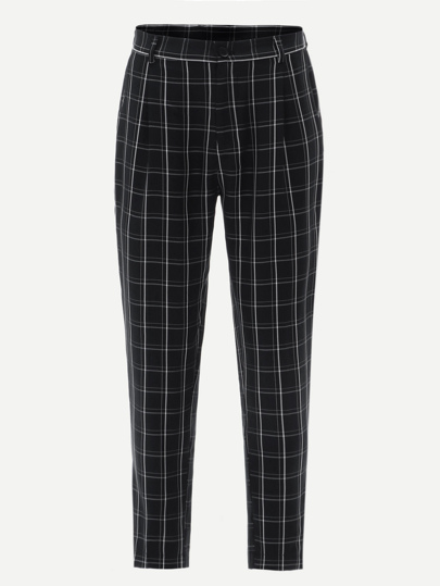 Guys Grid Print Peg Leg Pants